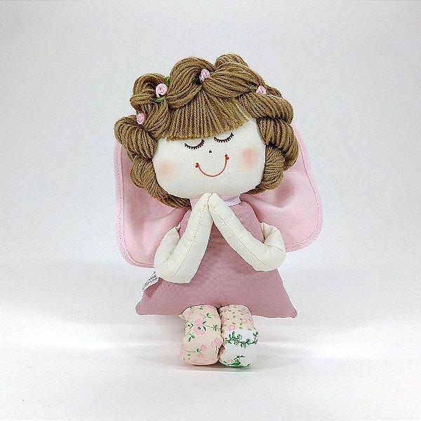Boneca de Pano Anjinha Coleção Provençal Rosê