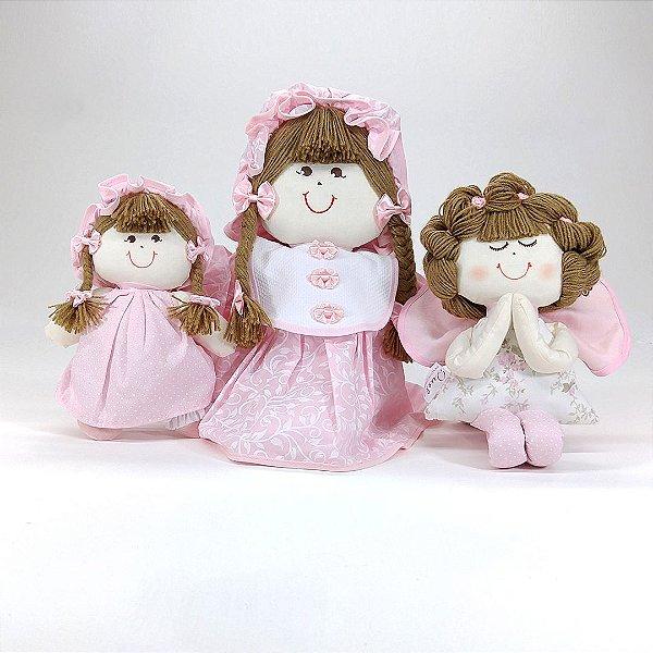 Kit 03 Peças: Menina Lú + Mini Ana + Anjinha Coleção Provençal Rosa Bebê