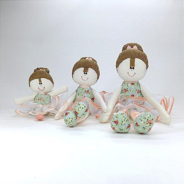 Kit 03 Bailarinas: Pequena, Média E Grande Rosé Chic Salmão Floral Com Verde