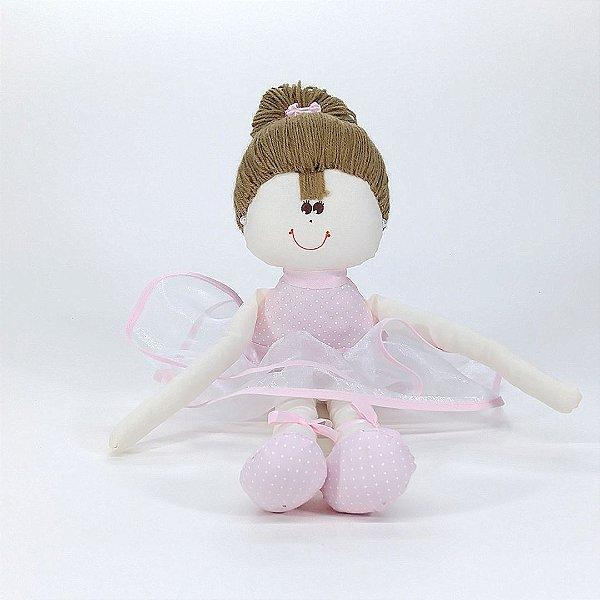 Bailarina Média Rosa Com Poá Branco