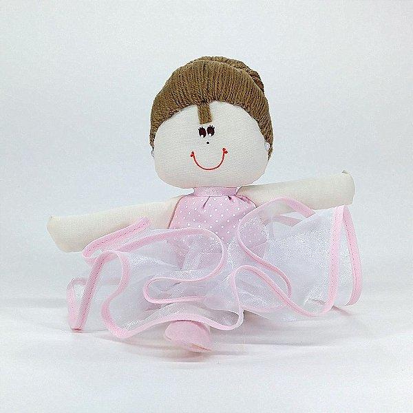 Bailarina Pequena Rosa Com Poá Branco