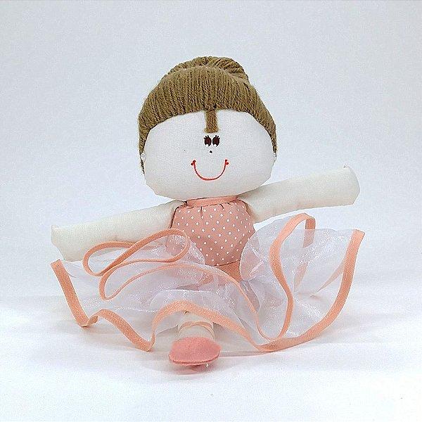 Bailarina Pequena Rosê Chic Salmão Com Póa Branco