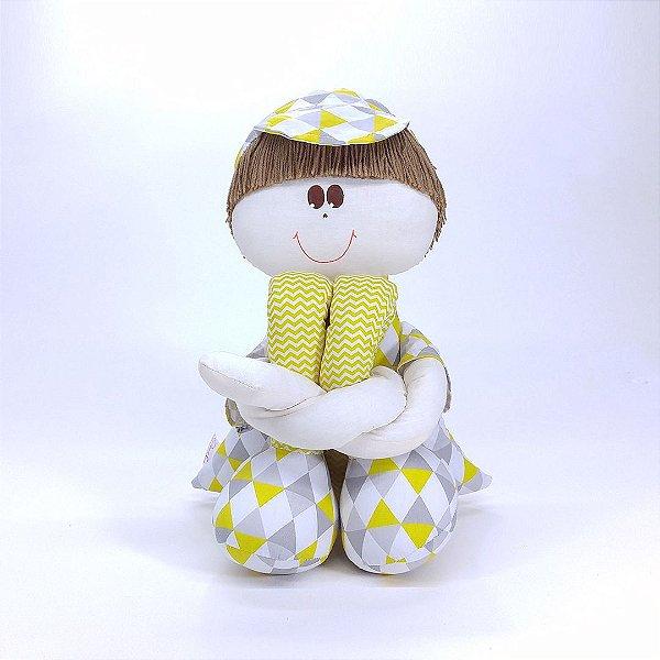 Boneco Sulo Grande Chevron Cinza E Amarelo