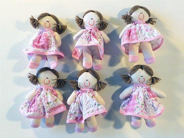 Kit 06 Peças: Boneca Miniatura Rosa Patchwork