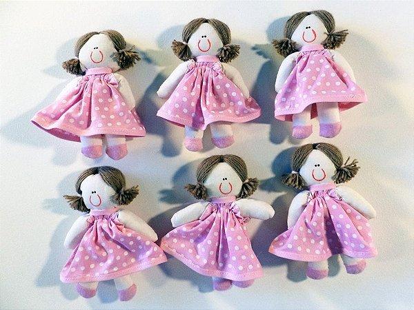 Kit 06 Peças: Boneca Miniatura Rosa Com Poá Branco