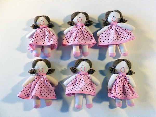 Kit 06 Peças: Boneca Miniatura Rosa Com Poá Marrom