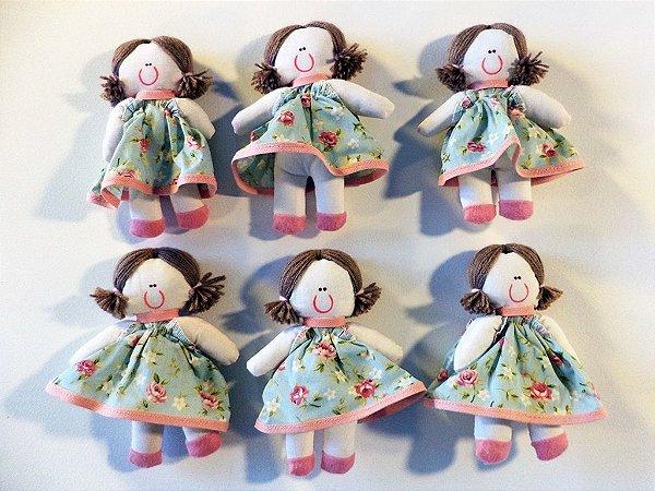 Kit 06 Peças: Bonecas Miniatura Coleção Rosê Chic Salmão