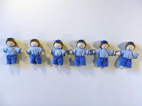 Kit 06 Peças: Boneco Miniatura Azul Tradicional