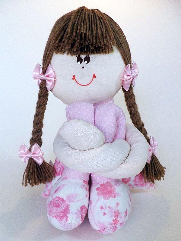 Boneca Sula Média Rosa Floral