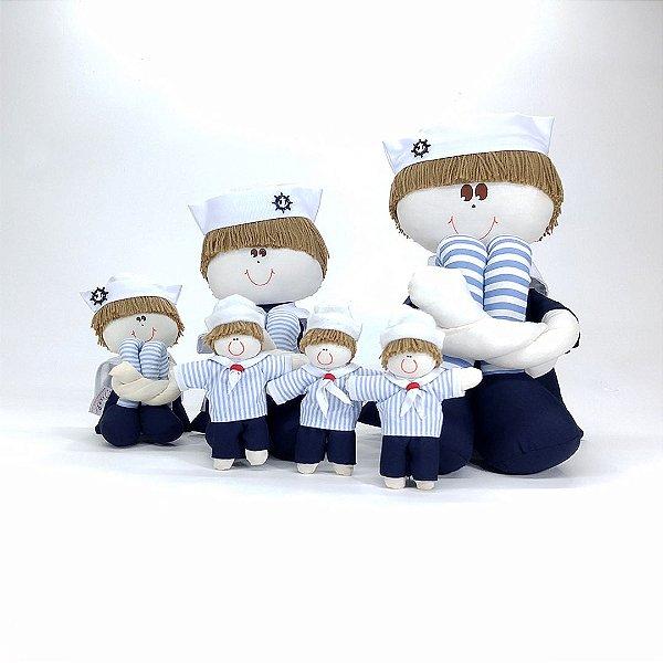 Kit 06 Peças: Bonecos Sulos Pequeno, Médio E Grande + Mini Bonecos Marinheiro