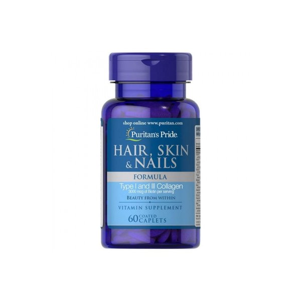 Hair, Skin & Nails Formula 3000mcg 60Caps  - Puritan's Pride