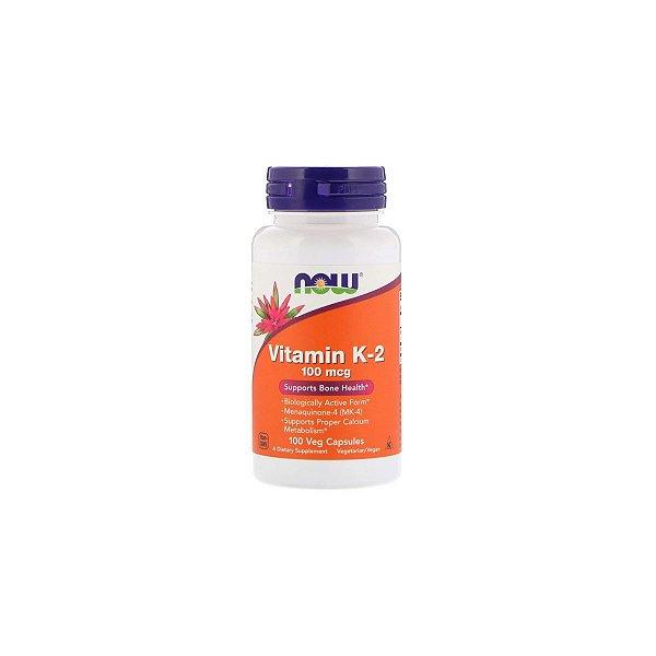 Vitamina K2 100 mcg 100 capsulas vegetais - Now Foods