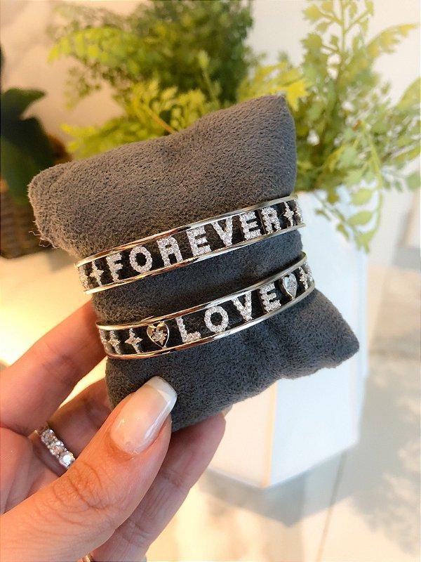 Bracelete Love Cravejado Prata 925