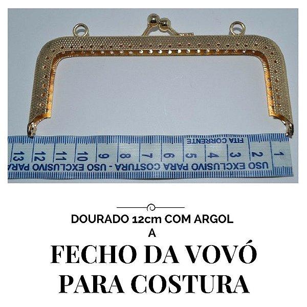 Fecho vovó para costura dourado  com argola  12cm