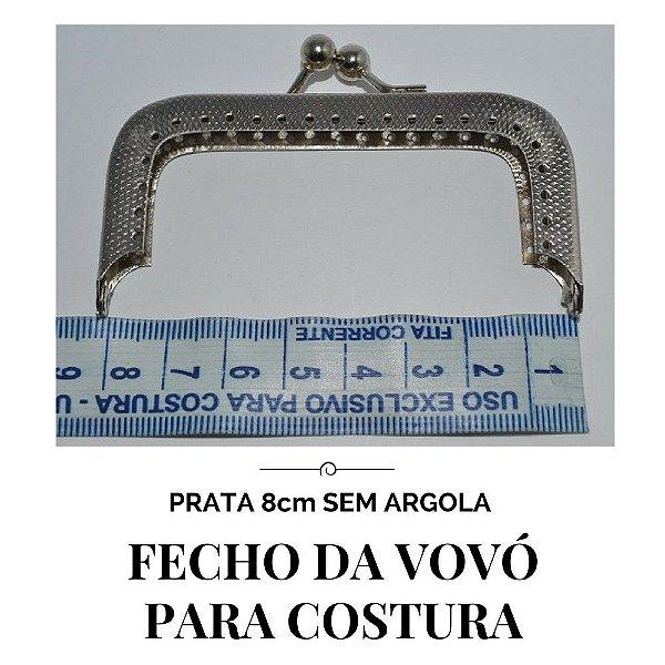 Fecho vovó para costura prata sem argola  8cm