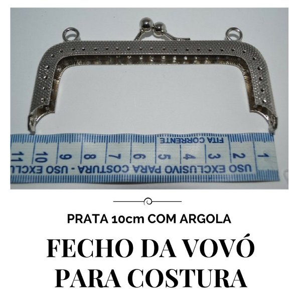 Fecho vovó para costura prata com argola  10cm