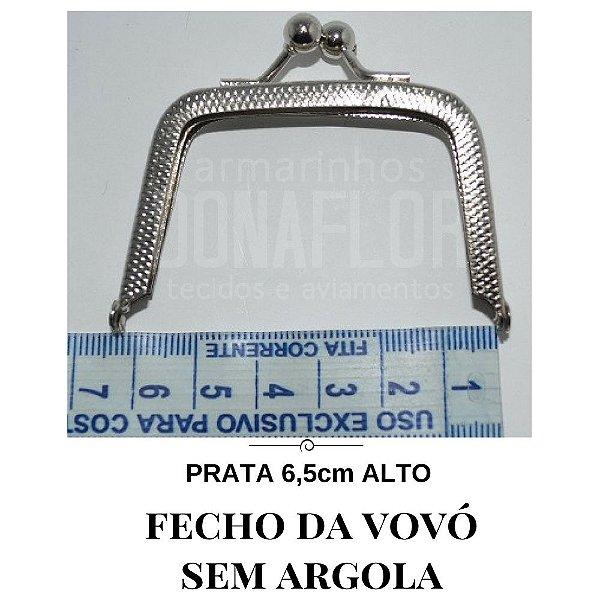Fecho vovó prata sem argola  6,5cm alta