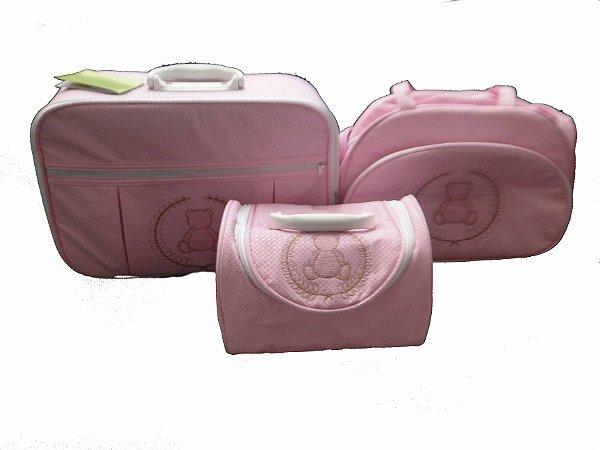 315b98293 Bolsa Mala Frasqueira Gratis Trocador Saida Maternidade kit 4 pcs ...