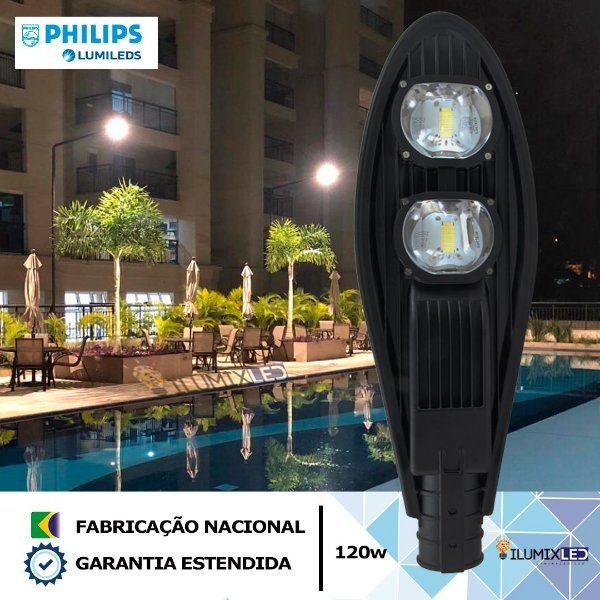 Luminária LED para poste 120w | 14.400 Lúmens | LED CHIP PHILIPS | Resistente à Água IP66