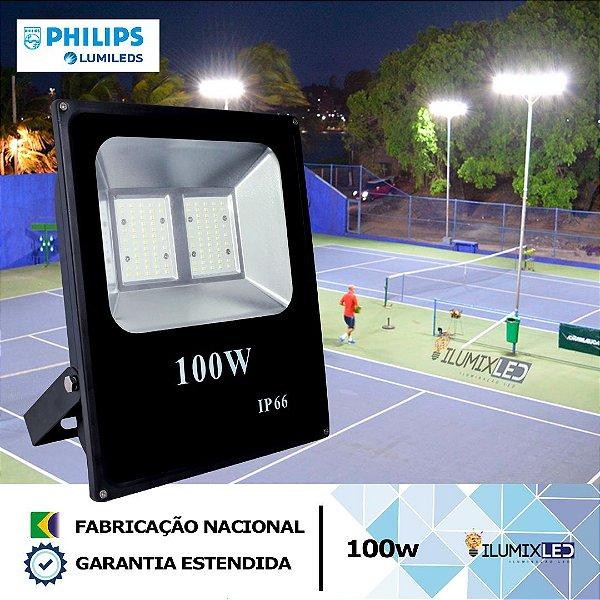 REFLETOR SLIM LED 100w  | LEDs PHILIPS | 12.000 Lúmens | LINHA ALTA POTÊNCIA