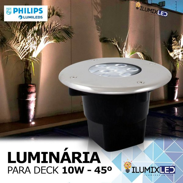 LUMINÁRIA LED DECK 10w | Para Embutir | INOX | Foco 45º | Resistente à água IP65 | LED CHIP PHILIPS