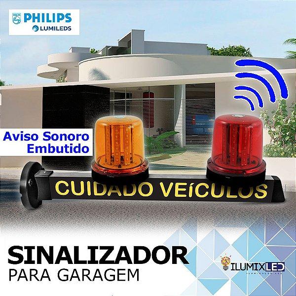 Sinalizador LED Para Garagem | com GIROLED | AVISO SONORO | Resistente à Água IP65 | LEDS PHILIPS