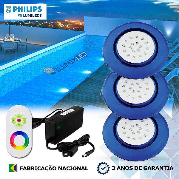 75 - KIT ILUMINAÇÃO DE PISCINA 18w | 12,5 cm | RGB Sistema Colorido | 3 Luminárias | LED PHILIPS