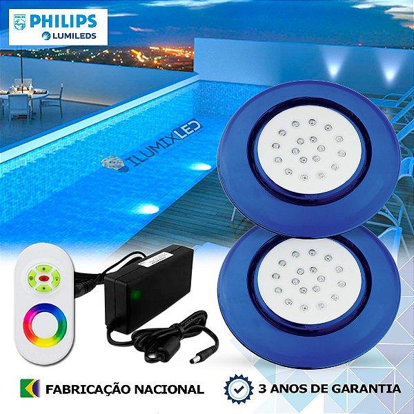 74 - KIT ILUMINAÇÃO DE PISCINA 18w | 12,5cm | RGB Sistema Colorido | 2 Luminárias | LED PHILIPS