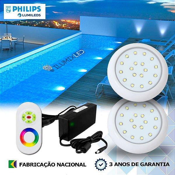 58 - KIT ILUMINAÇÃO DE PISCINA 18w | 8 cm | RGB Sistema Colorido | 2 Luminárias | LED CHIP PHILIPS