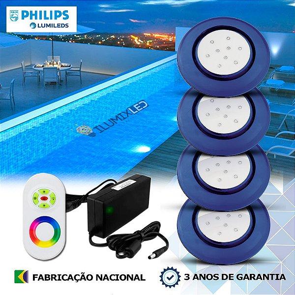 68 - KIT ILUMINAÇÃO DE PISCINA 9w | 12,5 cm | RGB Sistema Colorido | 4 Luminárias | LED CHIP PHILIPS