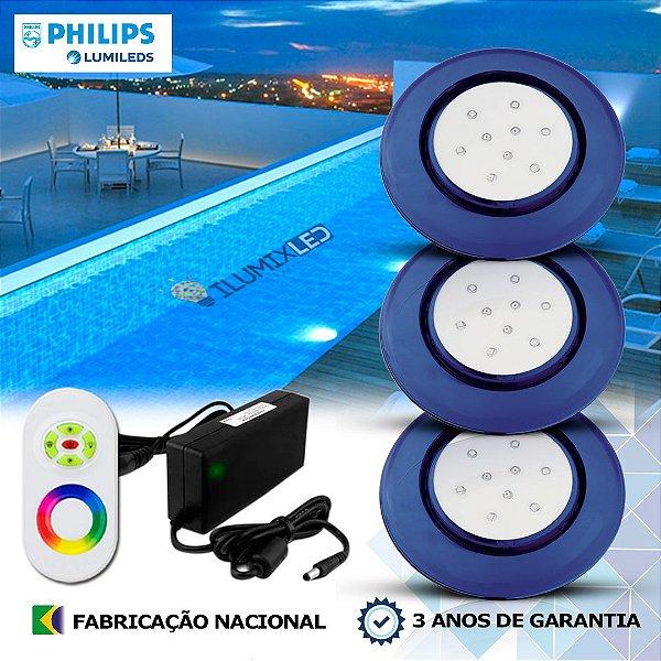 67 - KIT ILUMINAÇÃO DE PISCINA 9w | 12,5 cm | RGB Sistema Colorido | 3 Luminárias | LED PHILIPS