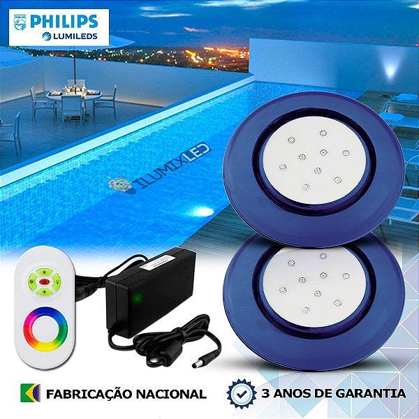 66 - KIT ILUMINAÇÃO DE PISCINA 9w | 12,5 cm | RGB Sistema Colorido | 2 Luminárias | LED CHIP PHILIPS