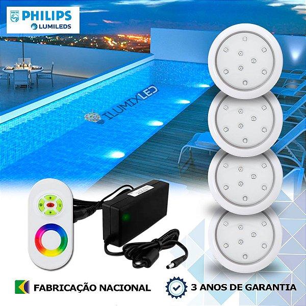 52 - KIT ILUMINAÇÃO DE PISCINA 9w | 8 cm | RGB Sistema Colorido | 4 Luminárias | LED PHILIPS