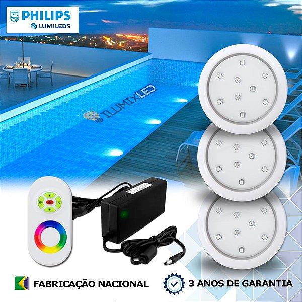 51 - KIT ILUMINAÇÃO DE PISCINA 9w | 8 cm | RGB Sistema Colorido | 3 Luminárias | LED PHILIPS