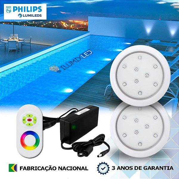 50 - KIT ILUMINAÇÃO DE PISCINA 9w | 8 cm | RGB Sistema Colorido | 2 Luminárias | LED CHIP PHILIPS