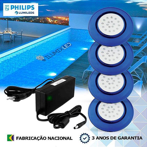 36 - KIT ILUMINAÇÃO DE PISCINA 18w | 12,5 cm | COR FIXA | 4 Luminárias | LED PHILIPS