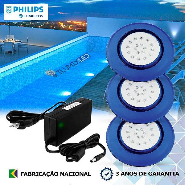35 - KIT ILUMINAÇÃO DE PISCINA 18w | 12,5 cm | COR FIXA | 3 Luminárias | LED PHILIPS