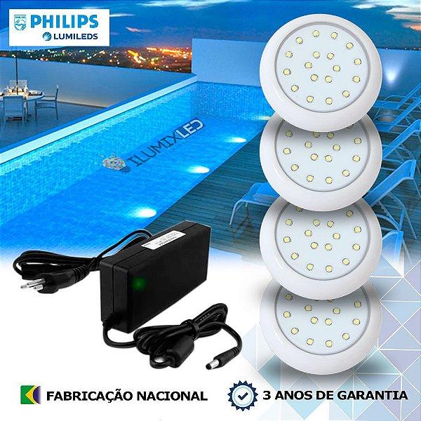 20 - KIT ILUMINAÇÃO DE PISCINA 18w | 8 cm | COR FIXA | 4 Luminárias | LED PHILIPS
