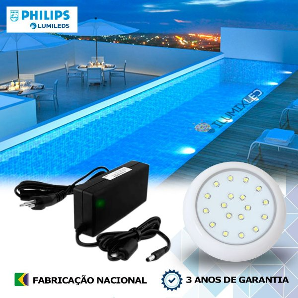 17 - KIT ILUMINAÇÃO DE PISCINA 18w | 8 cm | COR FIXA | 1 Luminárias | LED CHIP PHILIPS