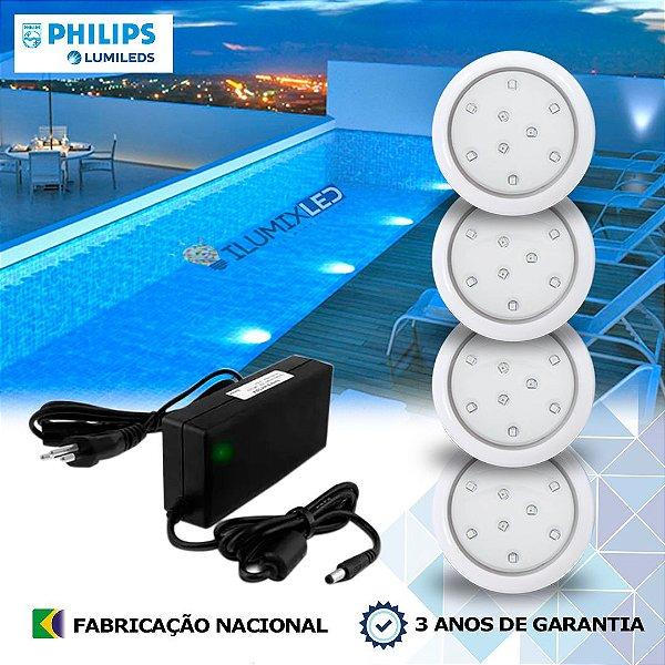 04 - KIT ILUMINAÇÃO DE PISCINA 9w |  8 cm | COR FIXA | 4 Luminárias | LED PHILIPS