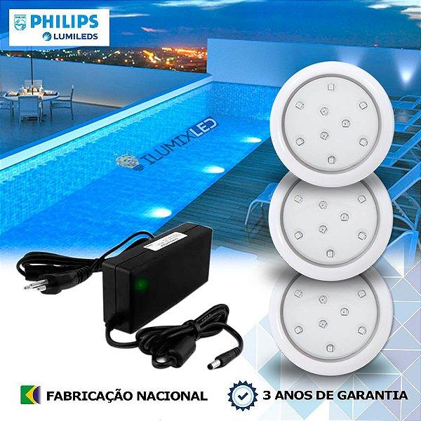 03 - KIT ILUMINAÇÃO DE PISCINA 9w |  8 cm | COR FIXA | 3 Luminárias | LED PHILIPS