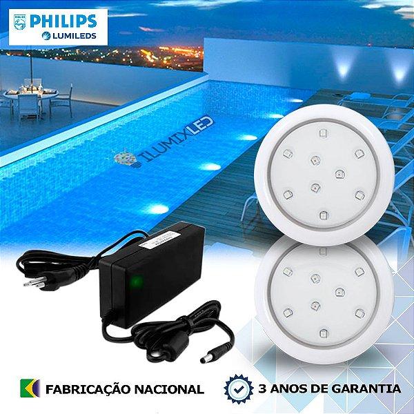 02 - KIT ILUMINAÇÃO DE PISCINA 9w    8 cm   COR FIXA   2 Luminárias   LED CHIP PHILIPS