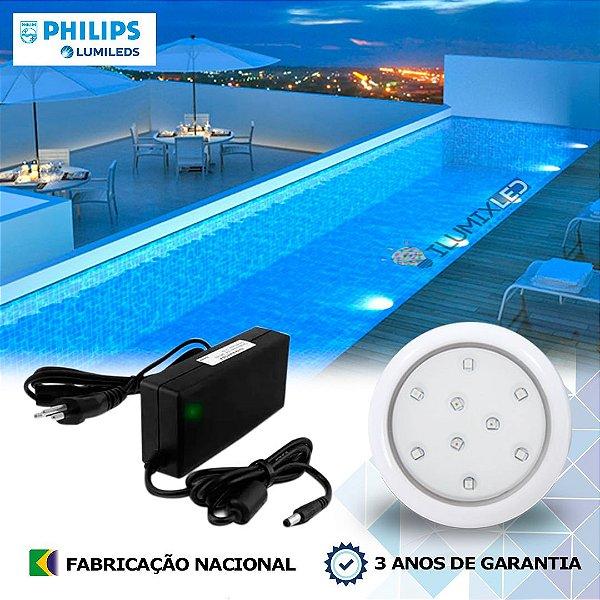 01 - KIT ILUMINAÇÃO DE PISCINA 9w   8 cm   COR FIXA   1 Luminárias   LED CHIP PHILIPS