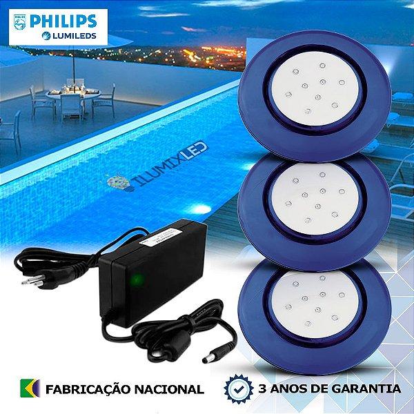 43 - KIT ILUMINAÇÃO DE PISCINA 9w | 12,5 cm | COR FIXA | 3 Luminárias | LED CHIP PHILIPS