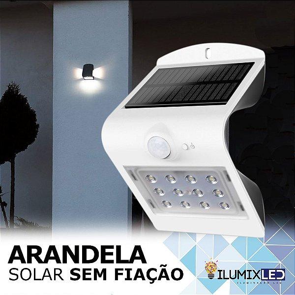 ARANDELA SOLAR | COM SENSOR DE PRESENÇA | IP65 | ACENDIMENTO AUTOMÁTICO | SEM FIAÇÃO
