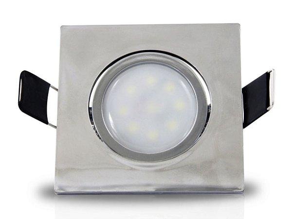Spot para embutir com Mini Dicróica 2w | Bivolt | Quadrado 62x62mm | Uso Interno