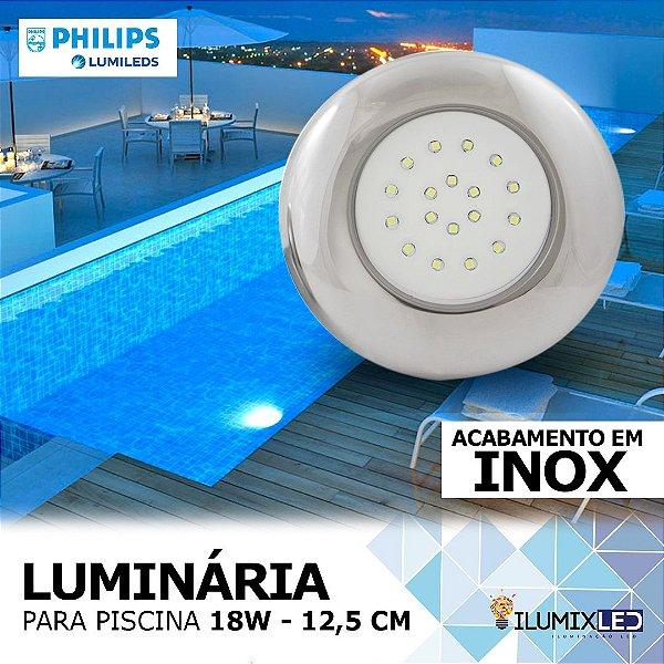 LUMINÁRIA LED PARA PISCINA - 18w | INOX | À prova d'água | LED PHILIPS