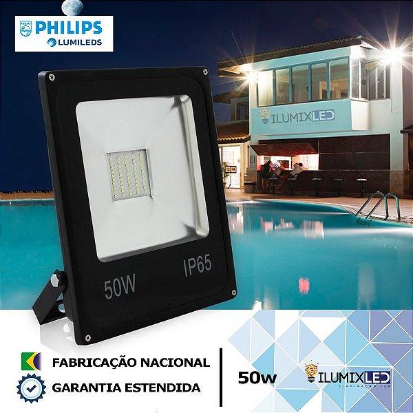 REFLETOR SLIM LED 50w  | LEDs PHILIPS | 6.000 Lúmens | LINHA ALTA POTÊNCIA