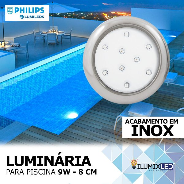 LUMINÁRIA LED PARA PISCINA - 9w | INOX | À prova d'água | LED CHIP PHILIPS