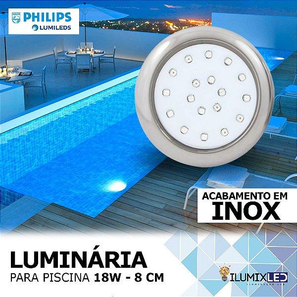 LUMINÁRIA LED PARA PISCINA - 18w | INOX | À prova d'água | LED CHIP PHILIPS